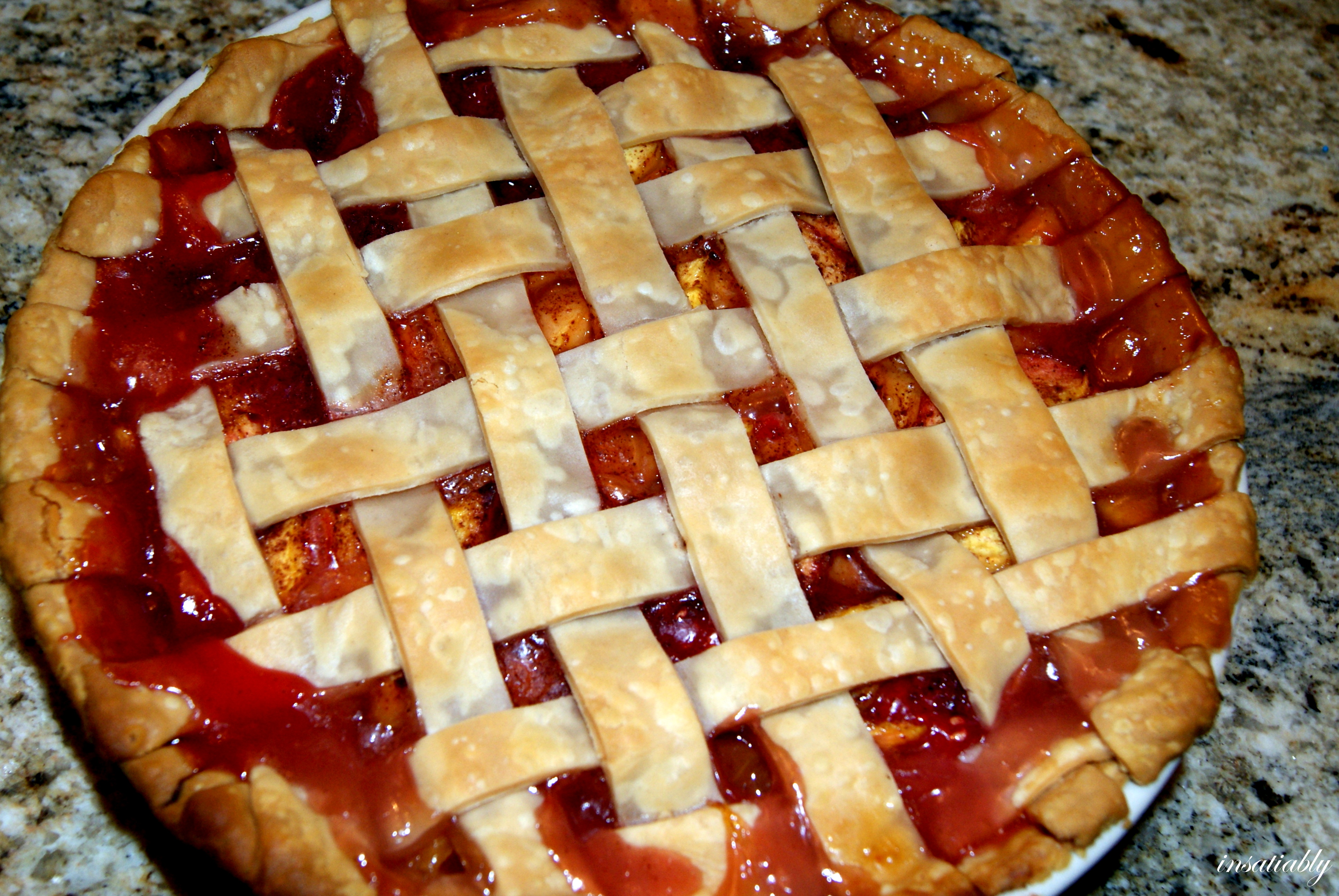 To Raspberry Peach Lattice Top Pie