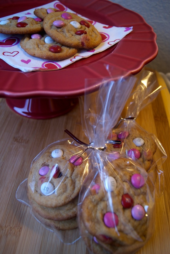 Valentines PB M&M Cookies