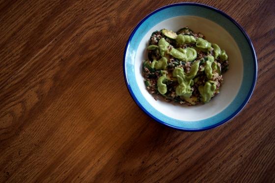 Zucchini & Spinach Quinoa with Avocado Pesto (2)