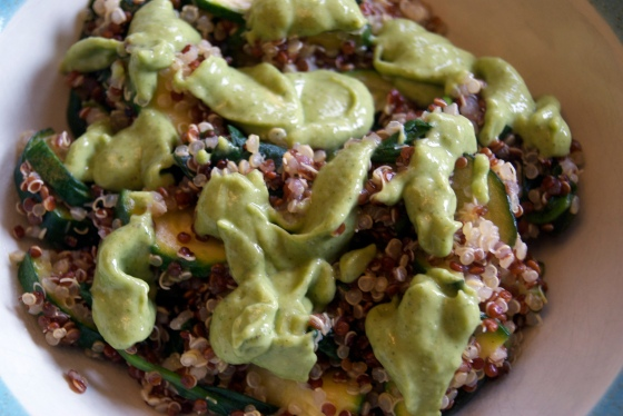 Zucchini & Spinach Quinoa with Avocado Pesto