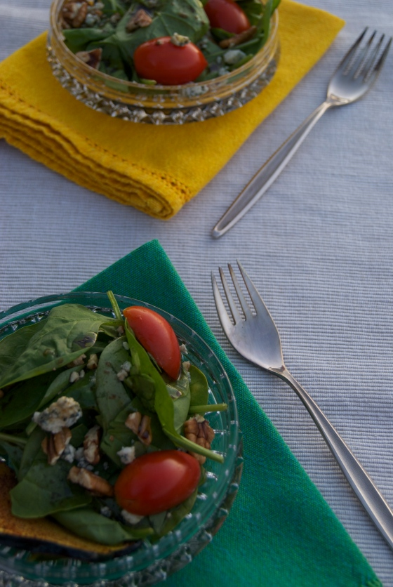Roasted Acorn Squash & Spinach Salad|Insatiably